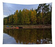 Canoes On The Shore At Loch An Eilein Tapestry