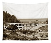 Cape Creek Bridge And Heceta Oregon Head Lighthouse  Circa1933 Tapestry