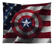 Captain America Shield On Usa Flag Tapestry