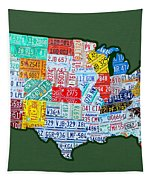 Car Tag Number Plate Art Usa On Green Tapestry by Design Turnpike