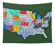 Car Tag Number Plate Art Usa On Green Tapestry