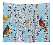 Cardinals Among The Birch-e Tapestry