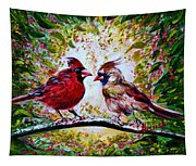 Cardinals Chat Tapestry