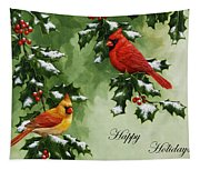 Cardinals Holiday Card - Version With Snow Tapestry
