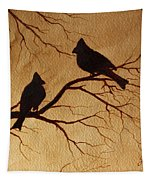 Cardinals Silhouettes Coffee Painting Tapestry by Georgeta  Blanaru