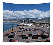 Cargo Containers At A Harbor, Honolulu Tapestry