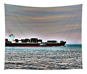 Cargo Ship Near Chesapeake Bay Bridge Tunnel Tapestry