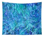 Caribbean Blue Abstract Tapestry
