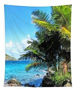 Caribbean - Palm Trees And Beach St. Thomas Vi Tapestry