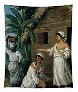Caribbean Women In Front Of A Hut Tapestry