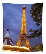 Carousel And Eiffel Tower Tapestry