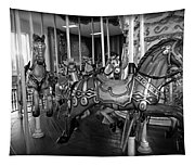Carousel Horses In Black And White Tapestry