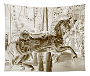 Carousel In Negative Sepia Tapestry