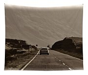 Cars And Other Vehicles On A Road In The Scottish Highlands Tapestry