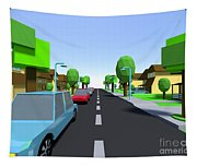Cars Driving Suburban Streets   Tapestry