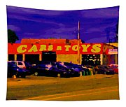 Cars R Toys Evening Rue St.jacques Used Cars Trucks Suvs Montreal Urban Scene Carole Spandau Tapestry