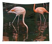 Cartoon - A Flamingo With Its Head Under Water In The Jurong Bird Park Tapestry