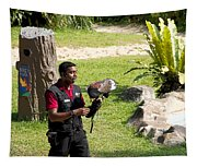 Cartoon - A Trainer And A Large Bird Of Prey At A Show Inside The Jurong Bird Park Tapestry