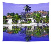 Cartoon - Cottages And Lagoon Water Tapestry