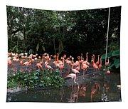 Cartoon - Flamingos In Their Exhibit Along With A Small Lake In The Jurong Bird Park Tapestry
