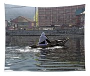 Cartoon - Light Following This Lady On A Wooden Boat On The Dal Lake In Srinagar Tapestry