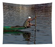 Cartoon - Man Plying A Wooden Boat On The Dal Lake Tapestry