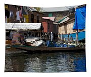 Cartoon - Man Rowing Small Boat Laden With Vegetables In The Dal Lake In Srinagar Tapestry