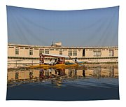 Cartoon - Shikara With Tourists Passing In Front Of A Large Houseboat In The Dal Lake Tapestry