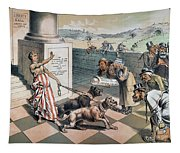 Cartoon Immigration, 1885 Tapestry