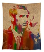Cary Grant Watercolor Portrait On Worn Parchment Tapestry