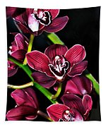 Cascading Red Orchids Tapestry