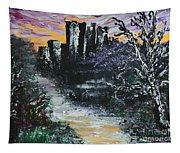 Castle Ruins At Dawn Tapestry