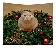 Cat And Christmas Wreath Tapestry