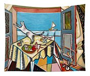 Cat And Sailboat Tapestry
