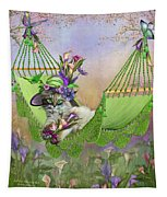 Cat In Calla Lily Hat Tapestry
