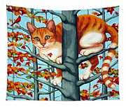 Orange Cat In Tree Autumn Fall Colors Tapestry
