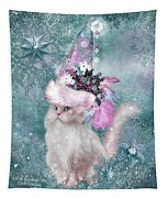 Cat In Snowflake Hat Tapestry