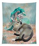 Cat In Summer Beach Hat Tapestry