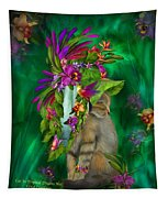 Cat In Tropical Dreams Hat Tapestry