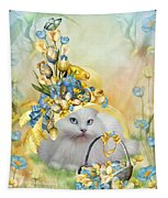 Cat In Yellow Easter Hat Tapestry