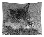Cat - India Ink Effect Tapestry