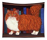 Cat On Book Shelf Tapestry