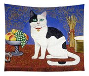 Cat On Thanksgiving Table Tapestry