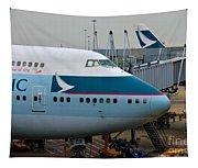 Cathay Pacific 747 Jumbo Jet Parked At Hong Kong Airport Tapestry