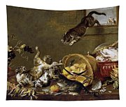 Cats Fighting In A Larder Tapestry