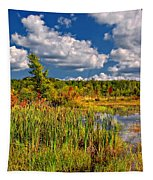 Cattails And Clouds Tapestry