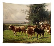 Cattle Heading To Pasture Tapestry