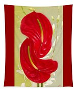 Celebration - Red Anthurium And White Orchids  Tapestry