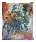 Sale - Sunflowers In Window Light - Original Impressionist - Large Oil Painting Tapestry