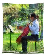 Cellist In The Garden Tapestry